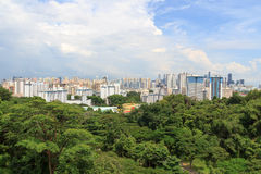 Panorama view with Singapore skyline seen from Mount faber rainforest Stock Photography
