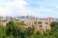 Panorama view with Singapore skyline seen from Mount faber rainforest Royalty Free Stock Image