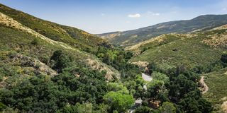 Panorama of Road in California Canyon Royalty Free Stock Photo