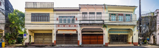 Panorama view of Sino-Portuguese Architecture of old buildings in Takua Pa, Thailand. These buildings have been constructed more than hundred years and this Stock Image
