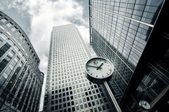 Panorama view of skyline buildings in Canary Wharf Stock Image