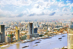Panorama view on skyscrapers, waterfront , city building of Shan Stock Photo