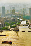 Panorama view on skyscrapers, waterfront , city building of Shan Stock Photography