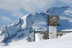 Panorama view with small white church at Passo Falzarego with Marmolada in background, Trentino, Dolomites Stock Images