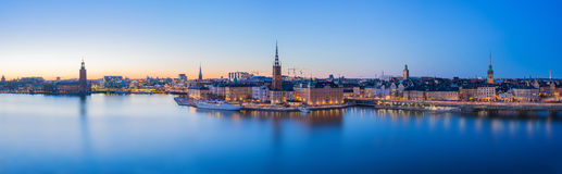 Panorama view of Stockholm skyline in Stockholm city, Sweden.  Royalty Free Stock Images