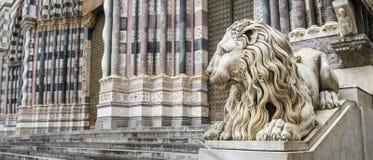 Stone Lion - Genova. Panorama view of a Stone Lion Statue in Genova - Italy Stock Photos