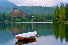 Strbske pleso lake in High Tatras in Slavakia. Panorama view on Strbske pleso in High Tatras with Patria hotel and boat royalty free stock image