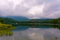 Strbske pleso lake in High Tatras in Slavakia. Panorama view on Strbske pleso in High Tatras with Patria hotel stock photos