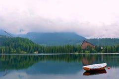 Strbske pleso lake in High Tatras in Slavakia. Panorama view on Strbske pleso in High Tatras with Patria hotel stock image