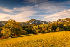 Panorama view in the Sulov rocks Nature Reserves at autumn. stock photos