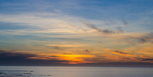 Panorama view of sunrise sky over sea Royalty Free Stock Images