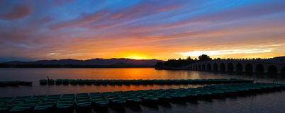 Panorama View of Sunset. Sunset at Kunminghu Lake in the Summer Palace (Yiheyuan) Beijing, China Royalty Free Stock Photo