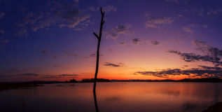Panorama view of Sunset at the lake Royalty Free Stock Images