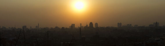 Panorama view of the sunset over Cairo Stock Photos