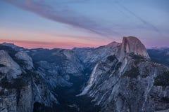 Panorama view at sunset in Yosemite Royalty Free Stock Image