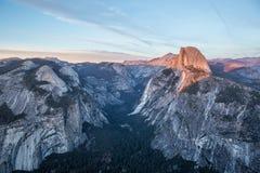 Panorama view at sunset in Yosemite Stock Image