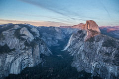 Panorama view at sunset in Yosemite Stock Images