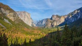 Panorama view at sunset in Yosemite Royalty Free Stock Photos