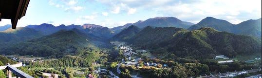 Panorama view surrounding Yamadera temple. Panorama view surrounding Yamadera temple in Japan stock photos