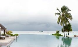 Panorama view of swimming pool in beach resort Royalty Free Stock Image