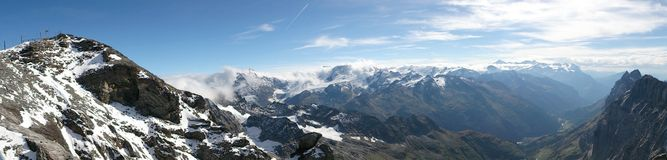 Panorama view of Swiss Alps Stock Photo