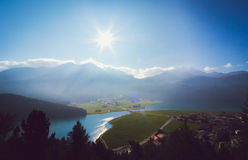 Panorama view of the swiss alps in Upper Engadine Stock Image