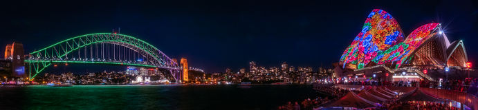 Panorama view of Sydney Harbour during Vivid Festival Royalty Free Stock Photos