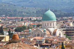 Panorama view on synagogue and old town in Florence, Italy Royalty Free Stock Photos