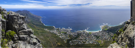 Panorama View from the Table Mountain. Panaramic view from the table mountain in Cape Town Stock Images