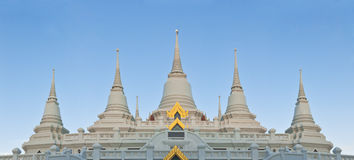 Panorama view of Thai Buddhism style pagoda in Buddhist temple Royalty Free Stock Images