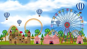 A Panorama View of Theme Park stock illustration