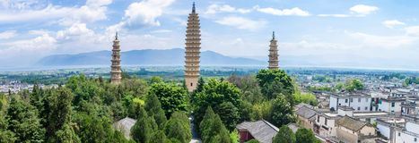 Panorama view of The Three Pagodas of Chongsheng Temple near Dali Old Town, Yunnan province Stock Photo