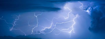 Panorama view of thunder storm lightning strike Royalty Free Stock Photo