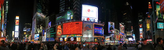 Panorama view of Times Square. The panorama view of Times Square in New York City royalty free stock photography