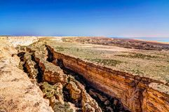 Free Panorama View To Aral Sea From The Rim Of Plateau Ustyurt Near Aktumsuk Cape , Karakalpakstan, Uzbekistan Royalty Free Stock Photo - 156145465