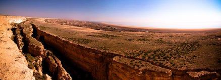 Panorama view to Aral sea from the rim of Plateau Ustyurt near Aktumsuk cape , Karakalpakstan, Uzbekistan Royalty Free Stock Photos