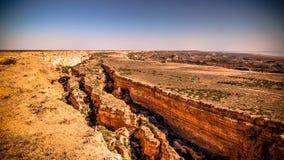 Panorama view to Aral sea from the rim of Plateau Ustyurt near Aktumsuk cape , Karakalpakstan, Uzbekistan Stock Photos
