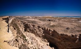 Panorama view to Aral sea from the rim of Plateau Ustyurt near Duana cape , Karakalpakstan, Uzbekistan Stock Photos