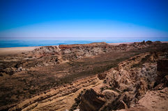 Panorama view to Aral sea from the rim of Plateau Ustyurt near Duana cape , Karakalpakstan, Uzbekistan Royalty Free Stock Images