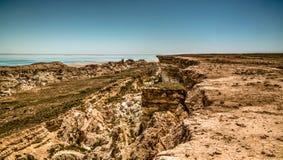 Panorama view to Aral sea from the rim of Plateau Ustyurt near Duana cape , Karakalpakstan, Uzbekistan Royalty Free Stock Photography