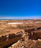 Panorama view to Aral sea from the rim of Plateau Ustyurt near Duana cape , Karakalpakstan, Uzbekistan. Panorama view to Aral sea from the rim of Plateau Ustyurt Royalty Free Stock Images