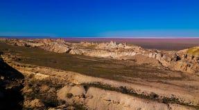Panorama view to Aral sea from the rim of Plateau Ustyurt at sunset , Karakalpakstan, Uzbekistan. Panorama view to Aral sea from the rim of Plateau Ustyurt at Stock Photos