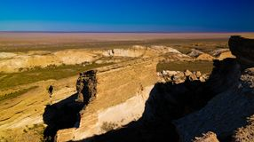 Panorama view to Aral sea from the rim of Plateau Ustyurt at sunset , Karakalpakstan, Uzbekistan Royalty Free Stock Photography