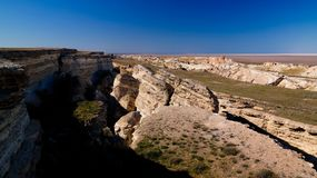 Panorama view to Aral sea from the rim of Plateau Ustyurt at sunset , Karakalpakstan, Uzbekistan. Panorama view to Aral sea from the rim of Plateau Ustyurt at Royalty Free Stock Images