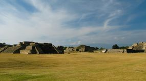 Panorama view to archaeological site of Monte Alban, Oaxaca, Mexico royalty free stock photography