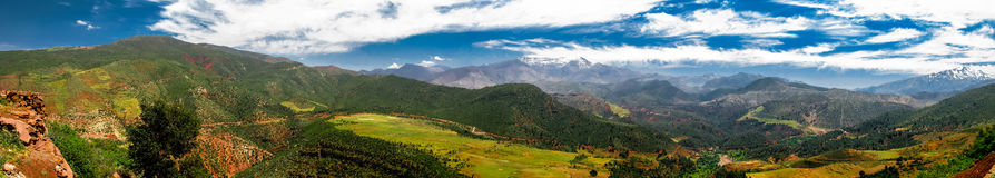 Panorama view to Atlas mountains and valley Morocco stock photo