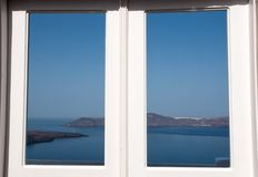 Panorama view to the caldera of Santorini Royalty Free Stock Image