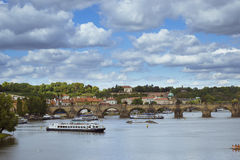 Panorama view to the Charles Bridge, Old Town, Prague Royalty Free Stock Photos