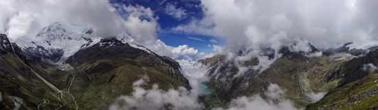 Panorama view to clouds over Lagunas de Llanganuco from mountai Royalty Free Stock Images