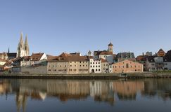 A panorama view to german town regensburg Stock Photography